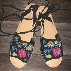 Forever Wrap-up Embroidered Sandal